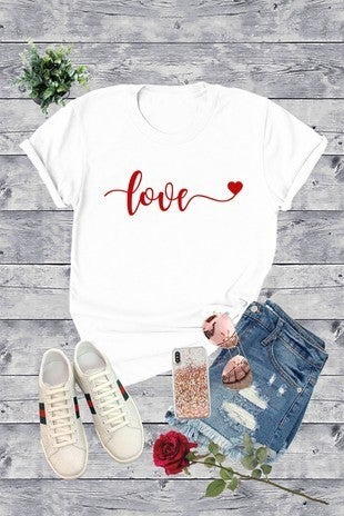 Love is in the Air Handwritten Red Love Graphic White Tee - Sizes 4-18
