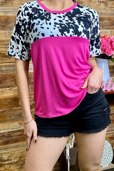 Holy Cow! Fuchsia And Cow Color Block Short Sleeve Top - Sizes 4-20