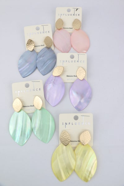 Everyday Shell Earring With Hammered Gold Detail In Multiple Colors