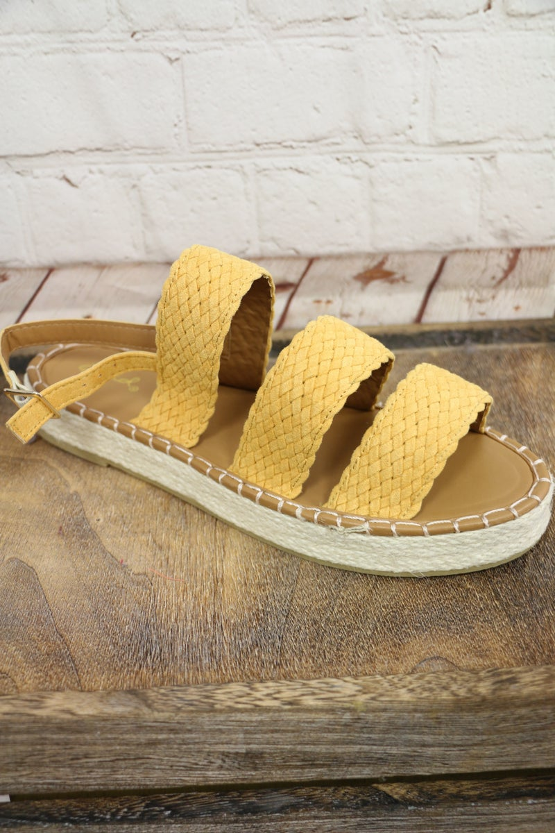 Make Me Smile Open Toe Espadrille Double Band Sandals - Sizes 6-10