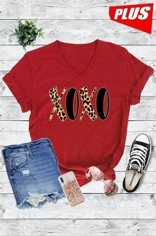 XOXO Leopard and Black Red Graphic V-Neck Tee - Sizes 4-18