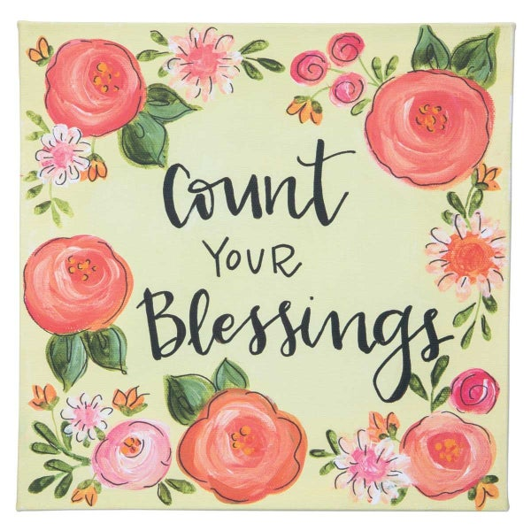 Count Your Blessings Canvas Sign In Yellow