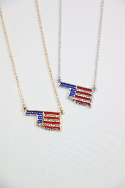 Watch It Wave Short Necklace With Crystal And Enamel American Flag Pendant In Multiple Colors