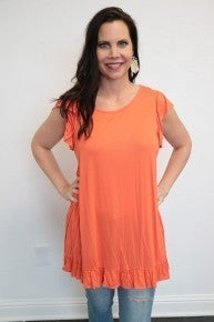 Which Way To Up Flutter Sleeve Top With Ruffle Hem In Multiple Colors - Size S