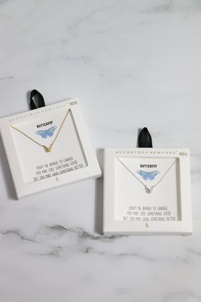 Butterfly Pendant Necklace in Inspirational Gift Box in Multiple Colors