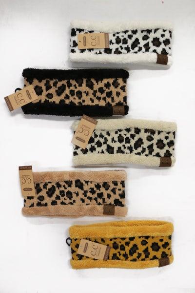CC Super Soft Sherpa Lined Leopard Ear Warmers in Multiple Colors
