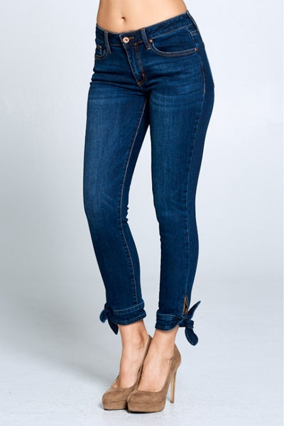 The Kelly Medium Wash Cropped Skinny with Knotted Cuff - Sizes 1-13