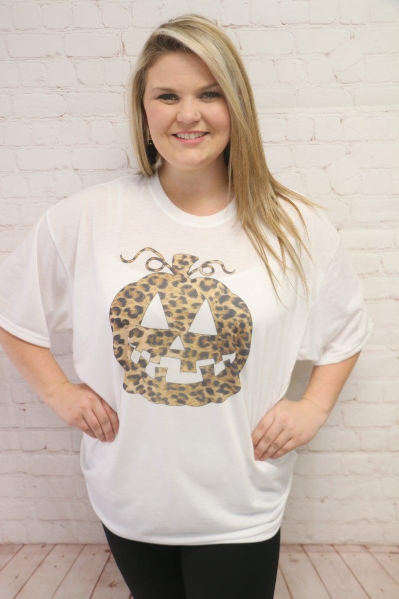 Leopard Jack-O-Lantern Graphic Tee - Sizes 12-20