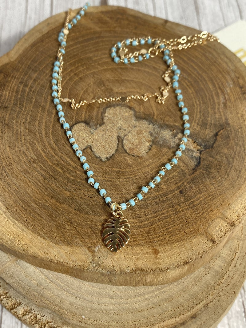 All For Today Double Strand Gold Necklace With Beads And Leaf Pendant In Multiple Colors