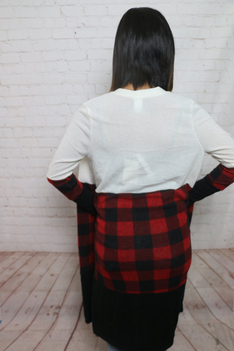 Expected Perfection Buffalo Plaid Colorblock Cardigan in Multiple Colors - Sizes 4-18