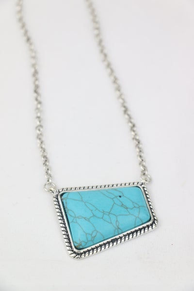 All The Ways Short Silver Necklace With Turquoise Trapezoid Pendant