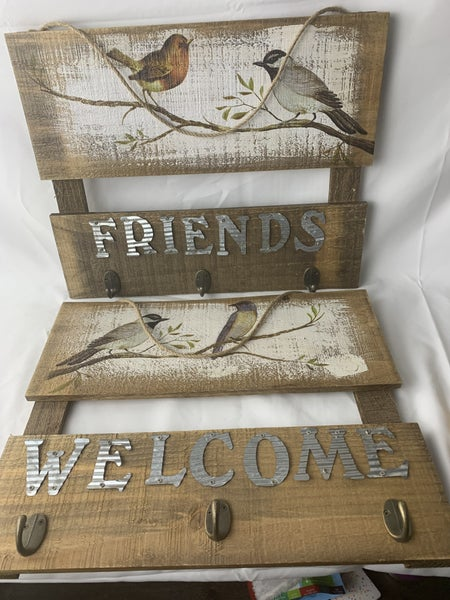Wood Slat Wall Decor with Hooks in Multiple Sayings