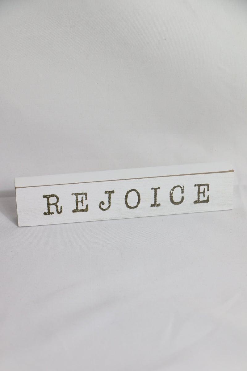 REJOICE Wood Block Sign