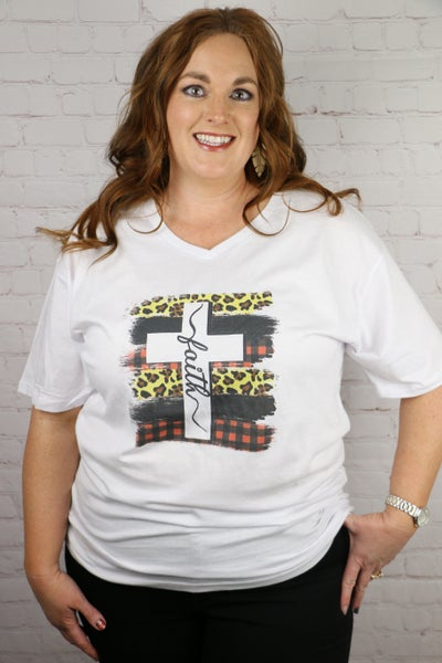 Always have Faith Leopard and Buffalocheck Cross White Graphic Tee - Sizes 12-18