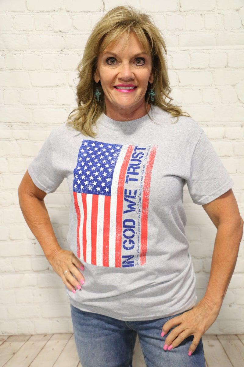 ***PRE-ORDER*** In God We Trust American Flag Gray Tee - Sizes 4-18