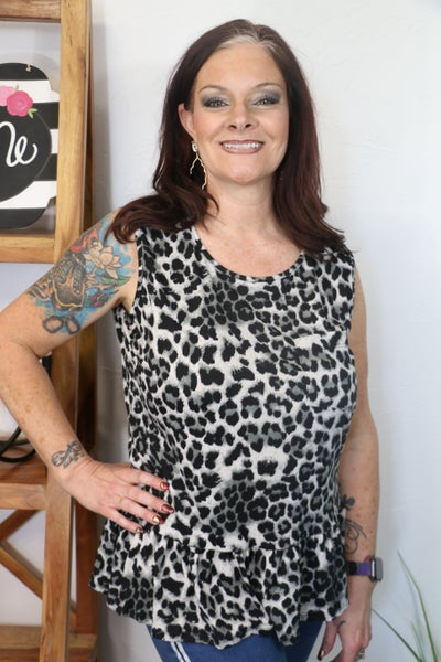 Roaring By Gray Leopard Sleevless Top with Pocket and Ruffled Hem - Sizes 12-20