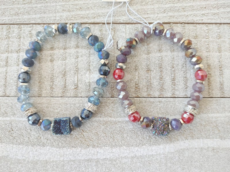 Fame Crystal Beaded Stretch Bracelet With Square Drusy Stone In Multiple Colors