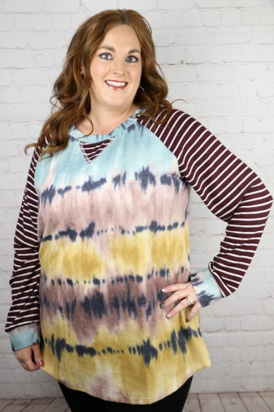 Living My Own Dream Tie Dye Raglan with Striped Accent Sleeve - Sizes 12-20