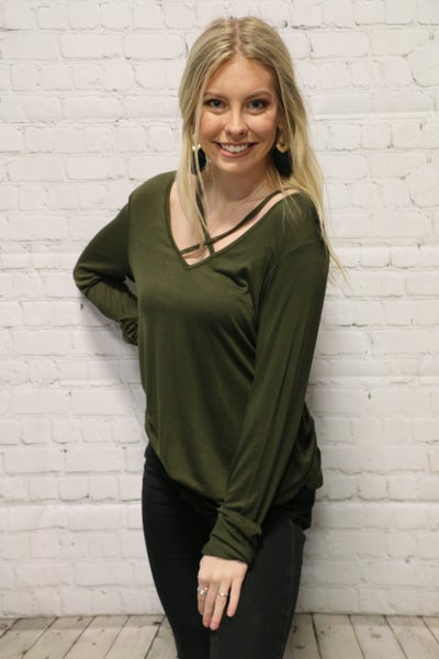 Let's Be Friends Criss Cross Top In Olive Sizes 6-10