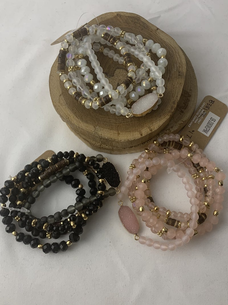 On A Lark 5 Strand Beaded Stretch Bracelet With Druzy Stone In Multiple Colors