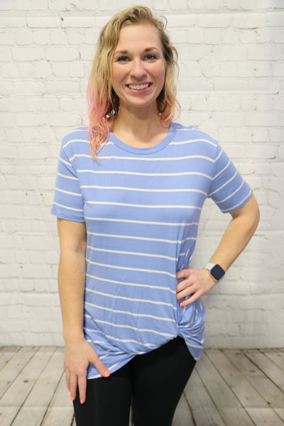 You're The One Striped Top With Twist In Multiple Colors Sizes 4-10