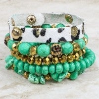 Your Dream Stone and Leopard Cuff 5 Piece Bracelet Set in Multiple Colors