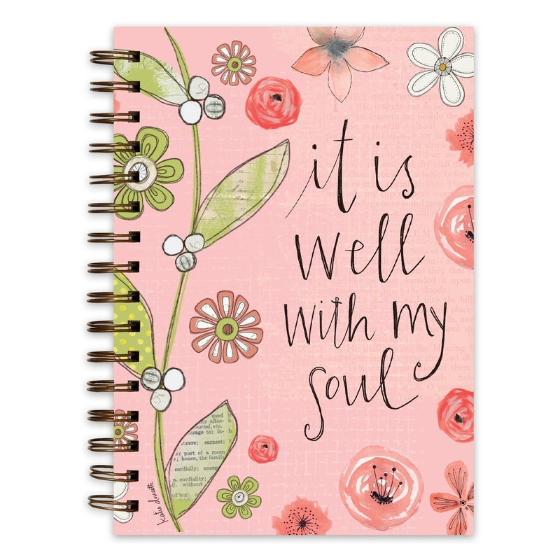 It Is Well with My Soul Pink Floral Spiral Bound Journal