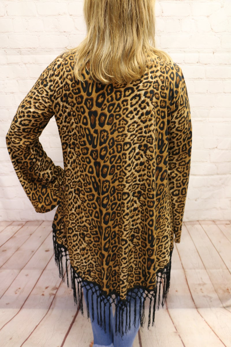 Waste the Day with You Leopard Cardigan with Tasseled Hem - Sizes 4-20