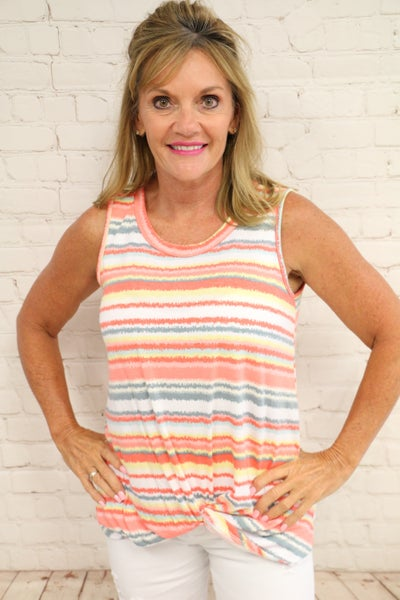 For All Time Striped Sleeveless Top in Coral - Sizes 4-10