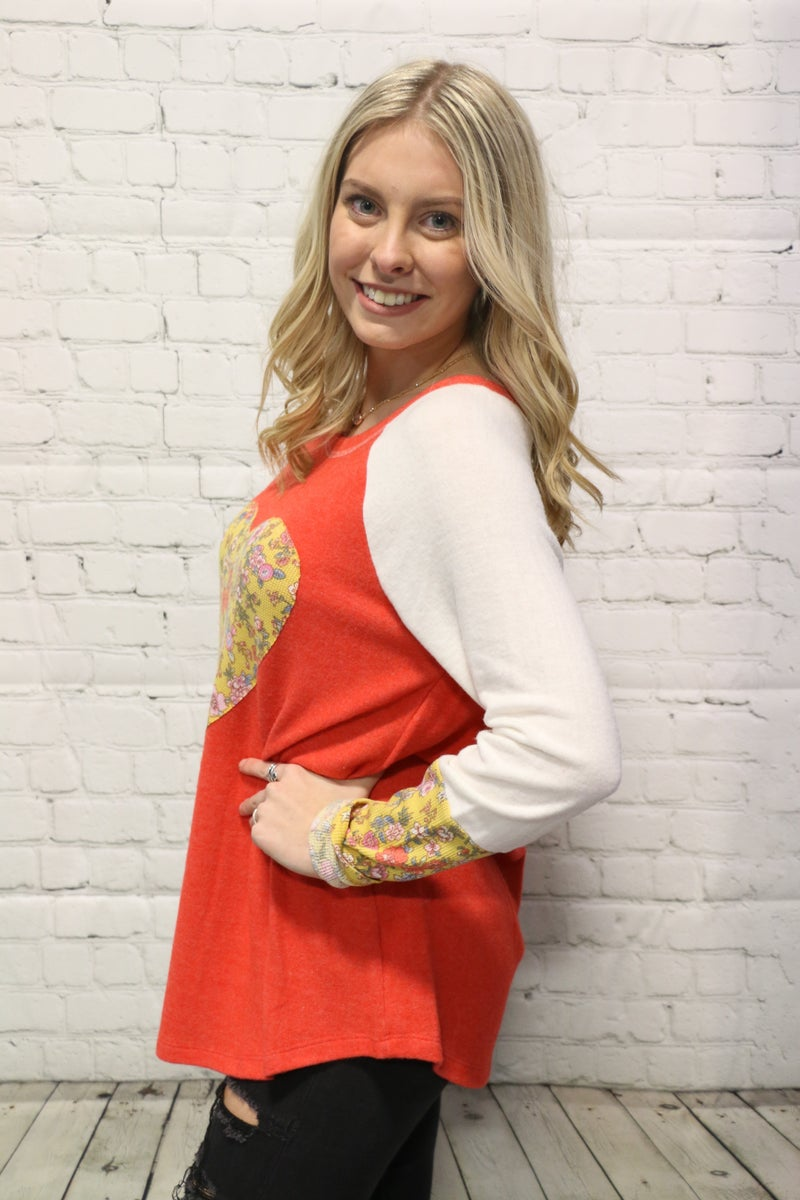 Feeling Full Of Love Supersoft Floral Contrast Top In Orange - Sizes 4-20