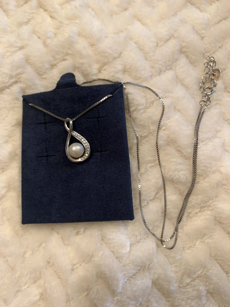 Forever Yours Short Sterling Silver Necklace With Infiniti And Pearl Pendant