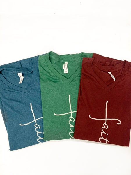 I Have Faith Graphic Tee V Neck in Multiple Colors - Sizes 4-20***PRE-ORDER***