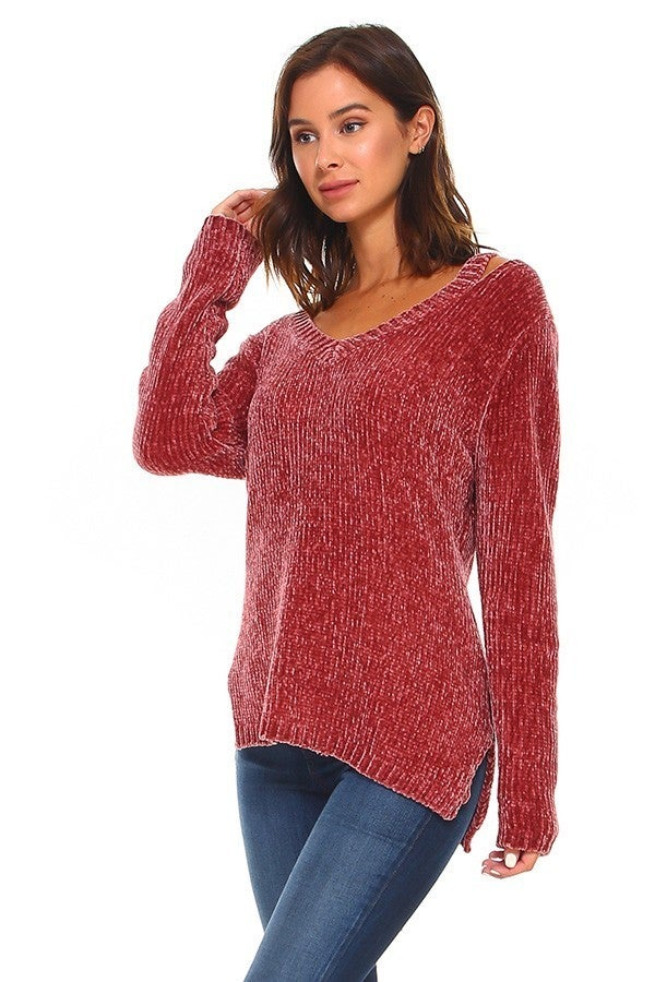 Come Together Wine Chenille Cut Out Shoulder Sweater - Sizes 4-10