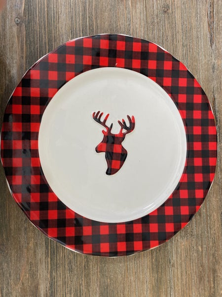 Winter Wonderland Reindeer  Plaid Plate