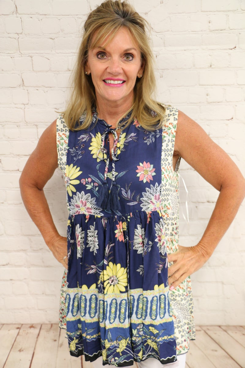 Floral Sleeveless Peasant Tunic Top in Navy - Sizes 4-10