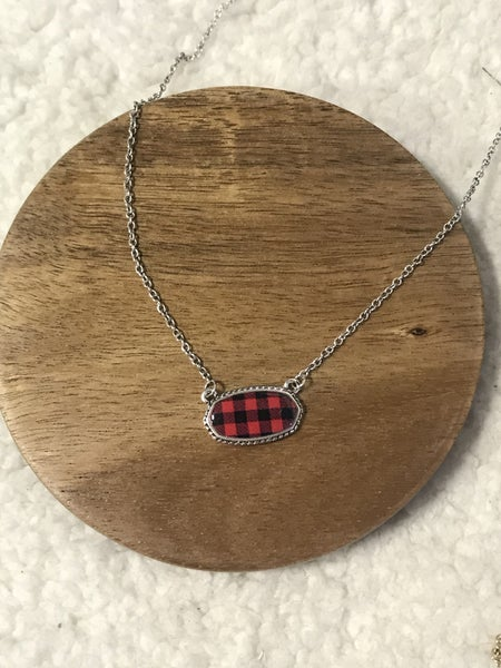 Together Forever Silver Necklace With Oval Red Buffalo Plaid Pendant