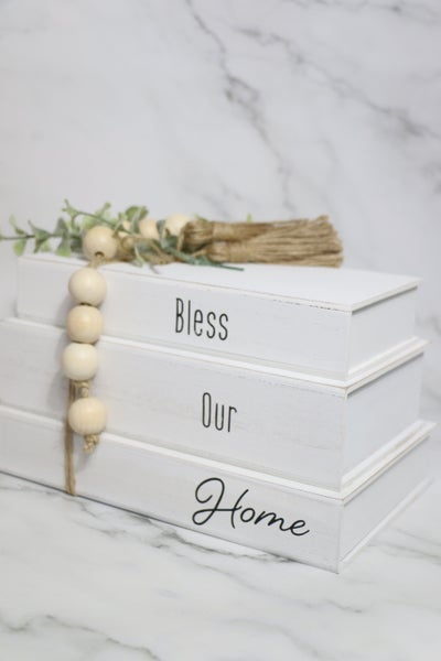All Around Tabletop Book Set With Wood Bead And Tassel Detail In Multiple Sayings