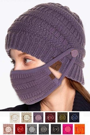 Breathe Easy CC Beanie with Buttons in Multiple Colors ***MASK NOT INCLUDED***