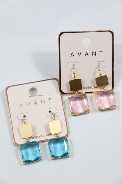 Double Time Double Square Gold And Crystal Drop Earring In Multiple Colors