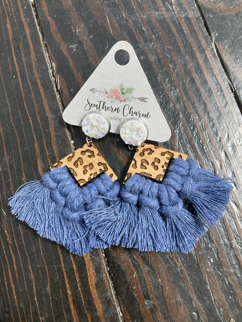 Take Your Time Wooden Leopard Triangle with Macrame Druzy Stone Stud Earring