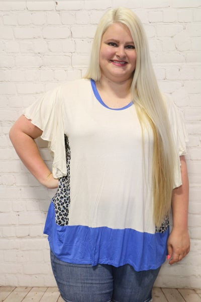 Follow Me Ivory Short Sleeve Top with Blue Leopard Accent - Sizes 6-20