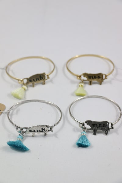Farm Life Animal Bangle Bracelet In Multiple Colors And Animals