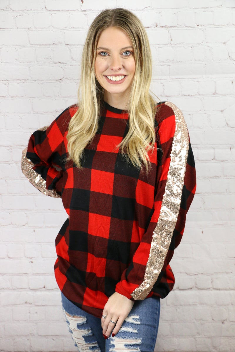 Feeling Your Best Buffalo Plaid Top with Sequin Accents - Sizes 4-20