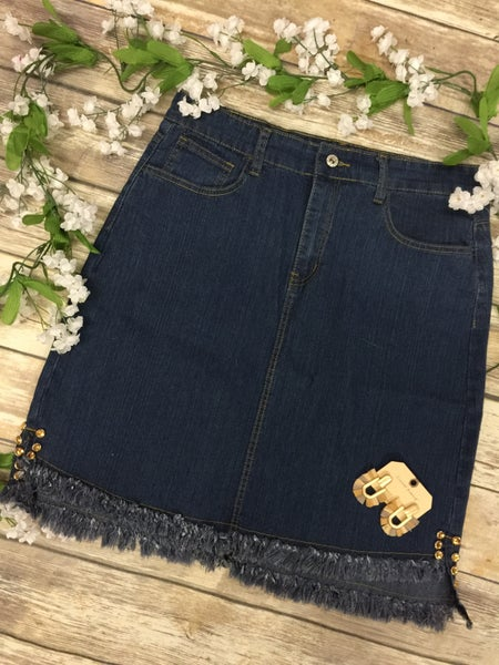 The Kasey Frayed Hem Denim Skirt With Rhinestone Accent - Sizes 4-20