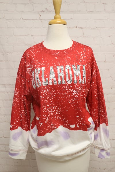 Oklahoma Crimson Bleached Shirt - Sizes 4-18