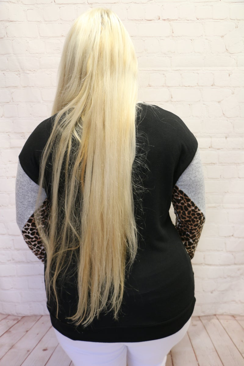Patiently Waiting Animal Print Splice Long Sleeve Top - Sizes 12-26