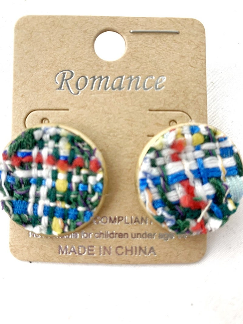 Around The World Round Woven Yarn Earring In Blue