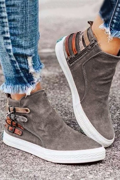 Always Right Mocha Sneaker with Accent Buckles - Sizes 7-10