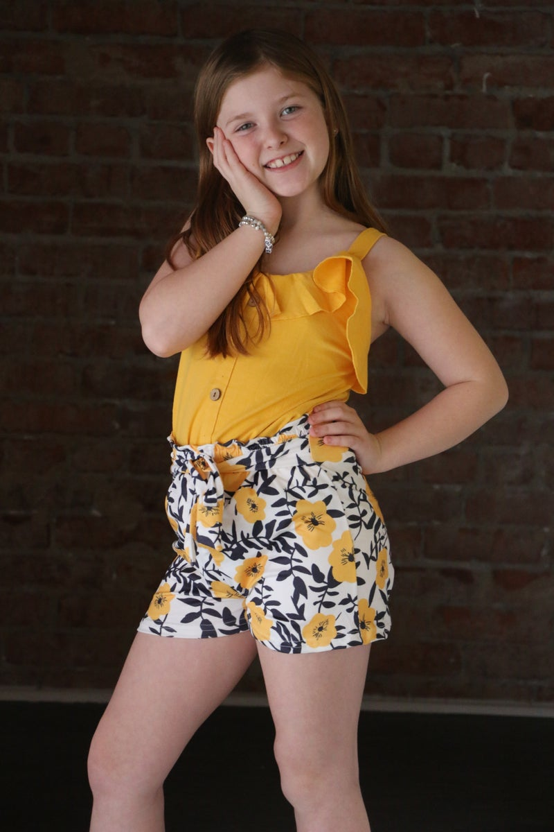 Better Together Yellow Top and Floral Short Set for Kids - Sizes 6M - 8Y