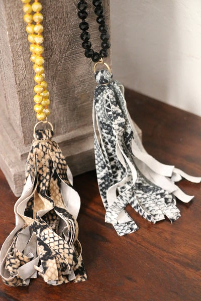 Wandering Long Crystal Beaded Necklace With Snakeskin Tassel In Multiple Colors